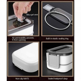EUJJ Kotak Makan Bento Lunch Box Stainless Steel 3 Compartments - J274 - White - 8