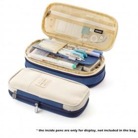 NNGOO Kotak Pensil Kanvas Pulpen Alat Tulis Organizer - AN1909 - Deep Blue