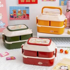 Debi Rabbit Kotak Makan 2 Layer Healthy Bento Lunch Box 850ml - DR5029 - Deep Green - 2