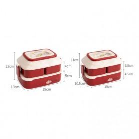 Debi Rabbit Kotak Makan 2 Layer Healthy Bento Lunch Box 850ml - DR5029 - Deep Green - 3