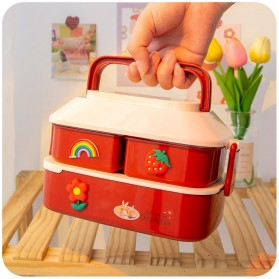 Debi Rabbit Kotak Makan 2 Layer Healthy Bento Lunch Box 850ml - DR5029 - Deep Green - 5