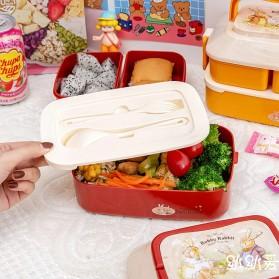 Debi Rabbit Kotak Makan 2 Layer Healthy Bento Lunch Box 850ml - DR5029 - Deep Green - 6