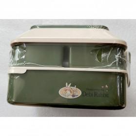 Debi Rabbit Kotak Makan 2 Layer Healthy Bento Lunch Box 850ml - DR5029 - Deep Green - 9
