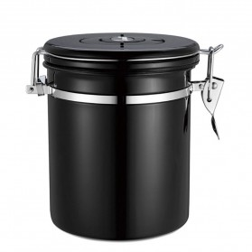 LIFEKITCH Tempat Kopi Gula Susu Coffee Bean Container Stainless Steel 1500ML - 481849 - Black