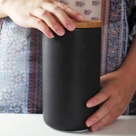 KAKOMILA Toples Keramik Tempat Biji Kopi Bumbu Dapur Serbaguna Tutup Kayu 800ml - CF-047 - Black