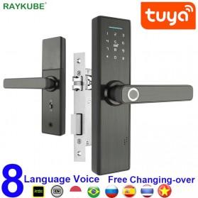 RAYKUBE Gagang Pintu Elektrik Fingerprint Password APP Unlock - X1-TUYA - Black