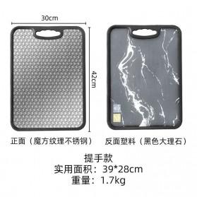 YURANG Talenan Dapur Stainless Steel Dua Sisi 30 x 42 cm - J2021 - Silver