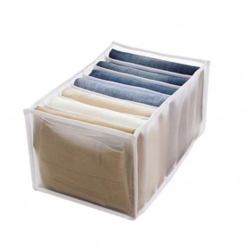 Junejour Kotak Sekat Pembatas Pakaian Closet Organizer Storage Jeans Box 7 Grid - M1468 - White
