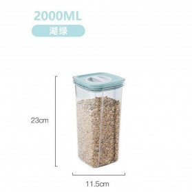 WELLFUTUR Toples Wadah Penyimpanan Makanan Sealed Jar Food Storage Container 2000ML - MDP369 - Green