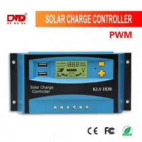 DEMUDA PWM Solar Charger Controller 30A with Dual USB 2.5A 12V 24V - KLS-1830 - Blue