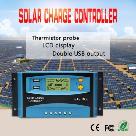 DEMUDA PWM Solar Charger Controller 30A with Dual USB 2.5A 12V 24V - KLS-1830 - Blue - 2