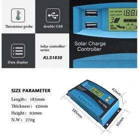 DEMUDA PWM Solar Charger Controller 30A with Dual USB 2.5A 12V 24V - KLS-1830 - Blue - 3