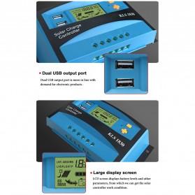 DEMUDA PWM Solar Charger Controller 30A with Dual USB 2.5A 12V 24V - KLS-1830 - Blue - 5
