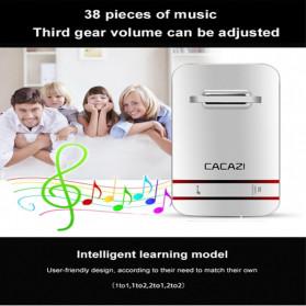 CACAZI Bel Pintu Wireless Doorbell LED 38 Tunes 1 PCS Receiver - V027G - White - 3