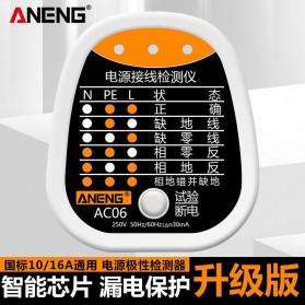 ANENG Stop Kontak Tester Detector Grounding Wire Leak Polarity Phase Check Detection - AC06 - White