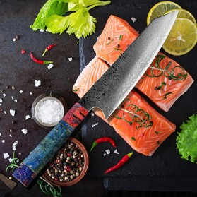 XITUO Pisau Dapur Damascus Pattern Chef Knife 8 Inch - CK112 - Silver - 2