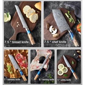 XITUO Pisau Dapur Damascus Pattern Chef Knife Cleaver 7.5 Inch - DL022 - Silver - 3