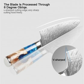 XITUO Pisau Dapur Damascus Pattern Chef Knife Cleaver 7.5 Inch - DL022 - Silver - 7