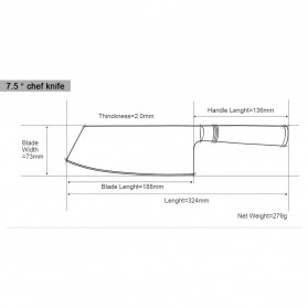 XITUO Pisau Dapur Damascus Pattern Chef Knife Cleaver 7.5 Inch - DL022 - Silver - 9