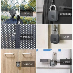 Gembok Koper Rumah Smart Fingerprint Padlock - L1 - Gray - 5