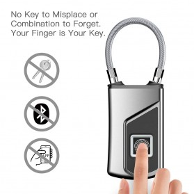 Gembok Koper Serbaguna Smart Fingerprint Padlock - G3 - Gray