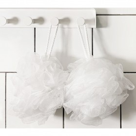 Qualitell Sponge Mandi Shower Ball Cleaning Bath 2 PCS - White