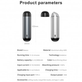 Baseus Vacuum Cleaner Portable Penyedot Debu Mobil Rechargeable CRXCQ01-01 - Black - 7