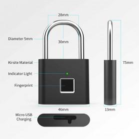 TELESIN Gembok Koper Rumah Smart Fingerprint Padlock - WY-FPL-001 - Black - 2