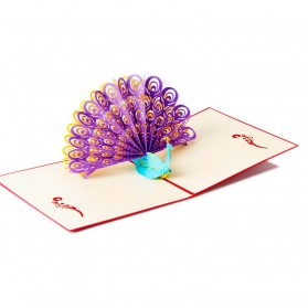 Kartu Ucapan 3D bentuk Burung Merak - Purple