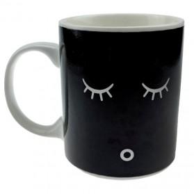 Color Changing Magic Mug Cangkir Sensitif Suhu Motif Smile Face - Y-03 - Black - 2