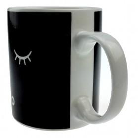 Color Changing Magic Mug Cangkir Sensitif Suhu Motif Smile Face - Y-03 - Black - 3