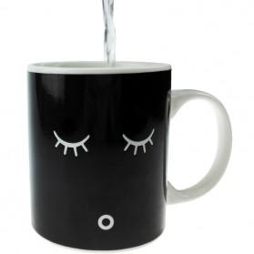 Color Changing Magic Mug Cangkir Sensitif Suhu Motif Smile Face - Y-03 - Black - 4