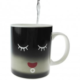 Color Changing Magic Mug Cangkir Sensitif Suhu Motif Smile Face - Y-03 - Black - 5