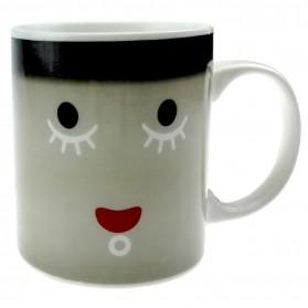 Color Changing Magic Mug Cangkir Sensitif Suhu Motif Smile Face - Y-03 - Black - 7