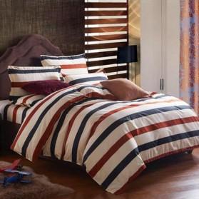 Sarung Bedcover Sprei Set 1.5 Meter Model Stripe - Black/Red