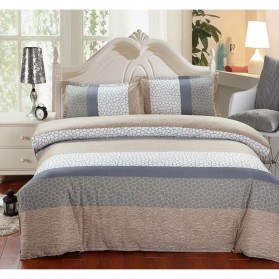 Sarung Bedcover Sprei Set 180 CM Model Stripe - Gray