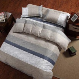 Sarung Bedcover Sprei Set 180 CM Model Stripe - Gray - 2