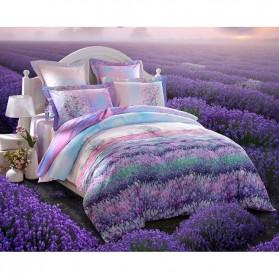 Sarung Bedcover Sprei Set 2 Meter Model Flower - Purple