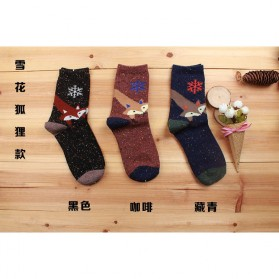Kaos Kaki Wanita 1 Pair Motif Snowflake Fox - Multi-Color