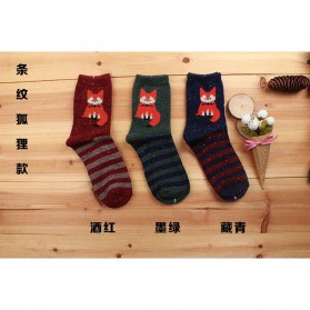 Kaos Kaki Wanita 1 Pair Motif Stripe Fox - Multi-Color