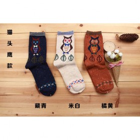 Kaos Kaki Wanita 1 Pair Motif Cartoon Owl - Multi-Color
