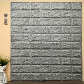 Sticker Wallpaper Dinding 3D Embosed Model Bata 77x70cm - WP072 - Gray Silver