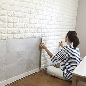 Sticker Wallpaper Dinding 3D Embosed Model Bata 77x70cm - WP072 - White - 7