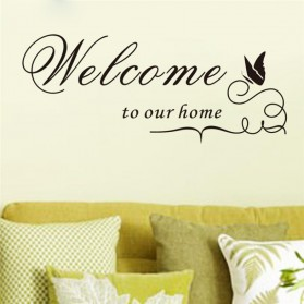 Sticker Wallpaper Dinding Welcome Friends - Black
