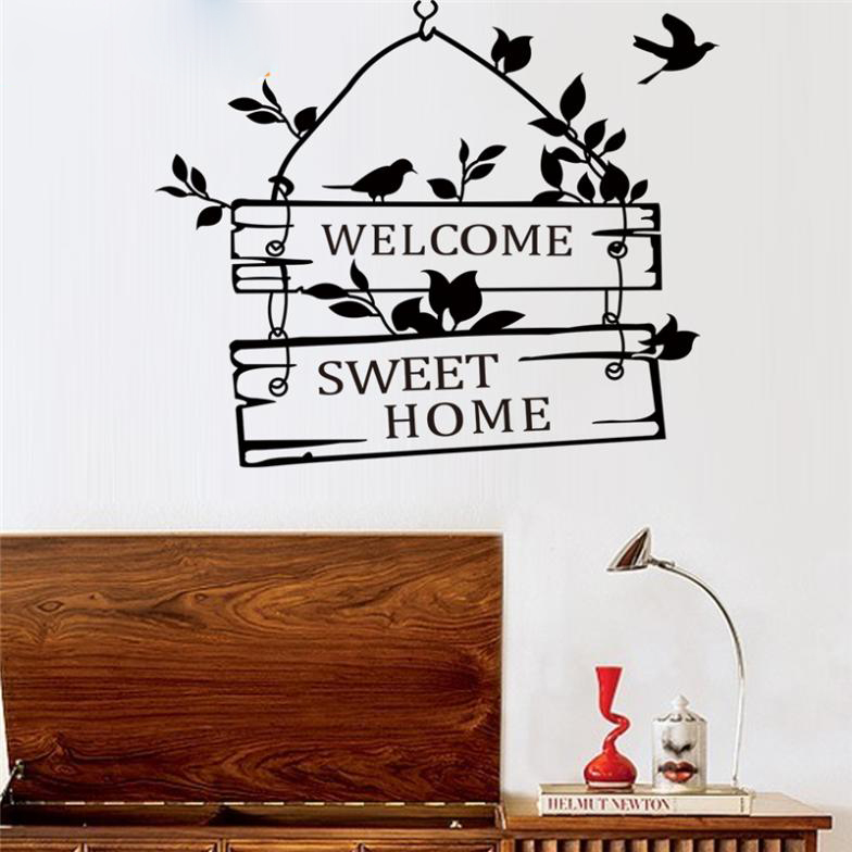 Sticker wallpaper dinding welcome sweet home black for Wallpaper home sweet home