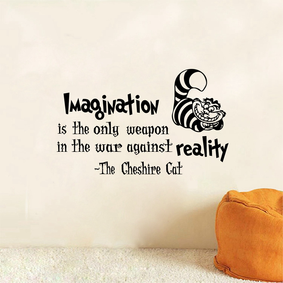 Cheshire Cat Alice In Wonderland Quotes: Sticker Wallpaper Dinding Imagination Cat Size L