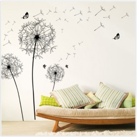 Sticker Wallpaper Dinding Black Dandelion - AY834 - Black