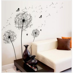 Sticker Wallpaper Dinding Black Dandelion - AY834 - Black - 2