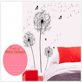 Sticker Wallpaper Dinding Black Dandelion - AY834 - Black - 6