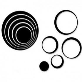 Sticker 3D Wallpaper Dinding Circle Ring 5PCS - Black